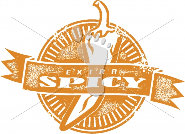 Extra Spicy Chili Pepper Menu Stamp