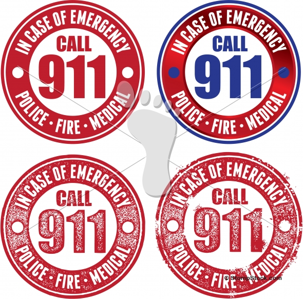 Call 911 in Case of Emergency – Service Stamps