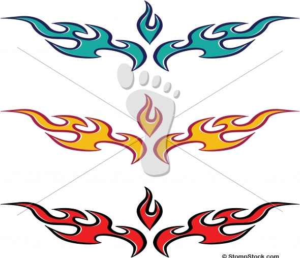 Vector Flame-Fire Tattoo Design