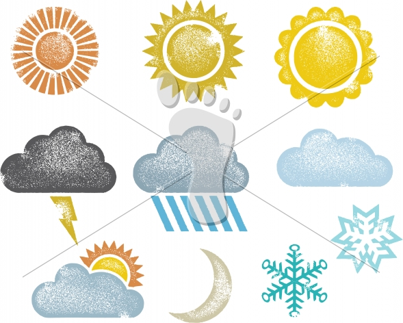 Distressed Vector Weather Icons