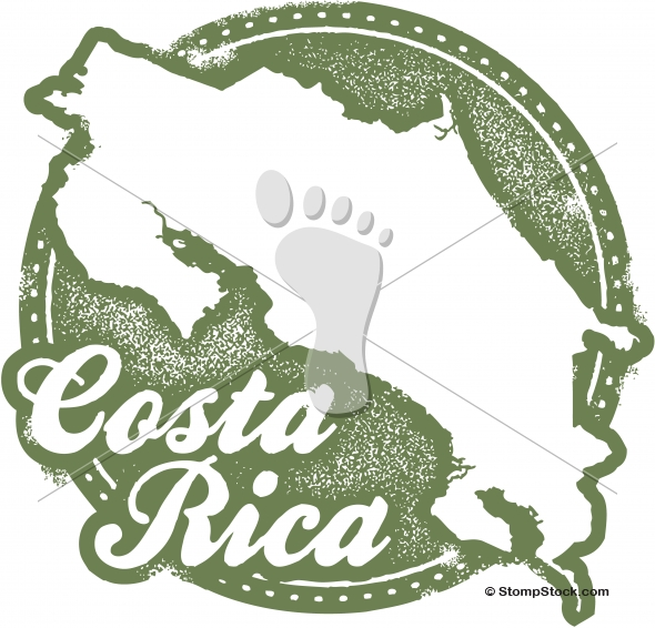 Costa Rica South America Vector Stamp