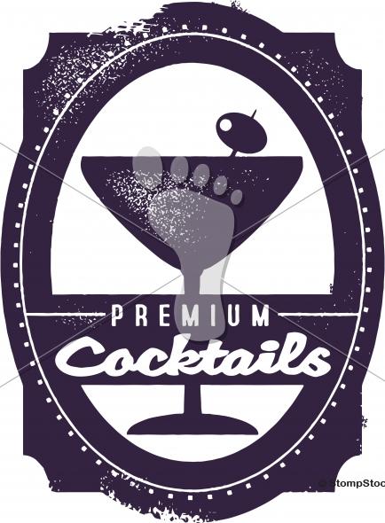 Premium Cocktails Bar Menu Stamp