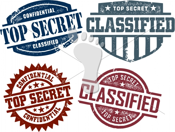 Top Secret Classified Confidential Stamps