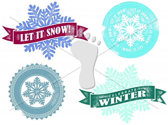 Vintage Winter Let it Snow Stamps