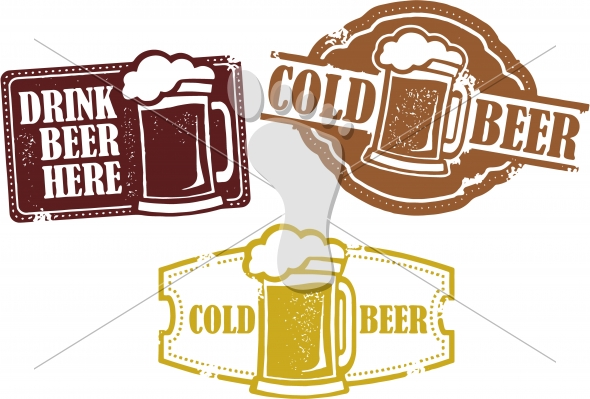 Vintage Cold Beer Vector Bar Graphics