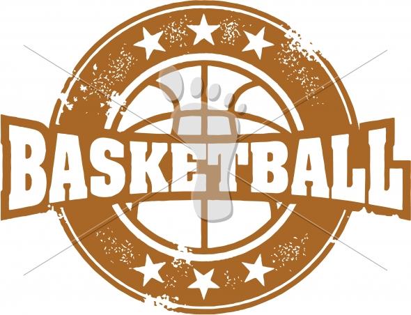 Vintage Style Basketball Sport Stamp