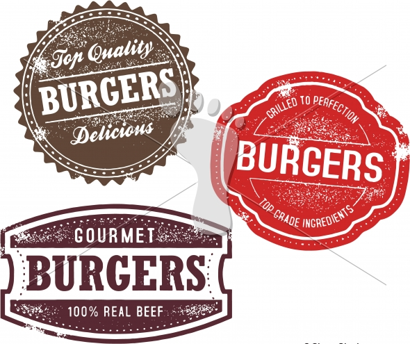 Vintage Hamburger Burger Menu Stamps