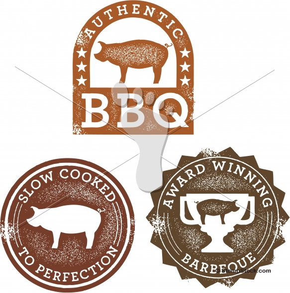 Vintage Style Pork Barbecue Graphics