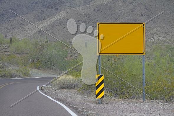Blank Road Sign on Desert Road