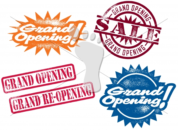Grand Opening Business Sale Celebration Stamps