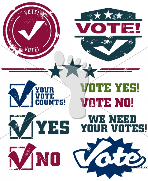Voting and Election Distressed Vector Graphics