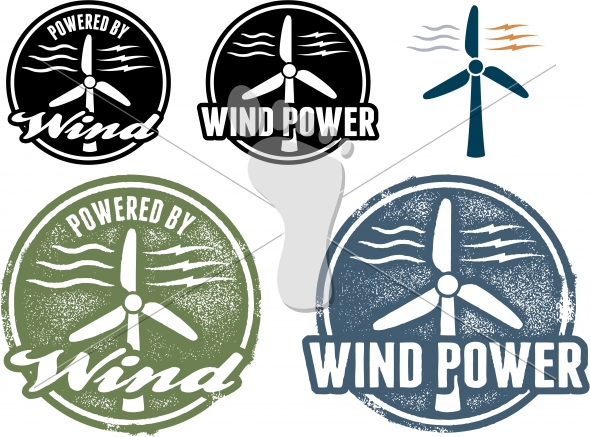 Wind Power Stamps and Vector Icons