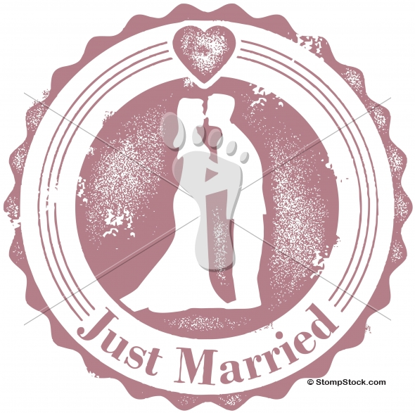 Vintage Style Just Married Wedding Stamp