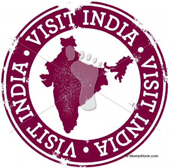 Visit India Vintage Vector Stamp
