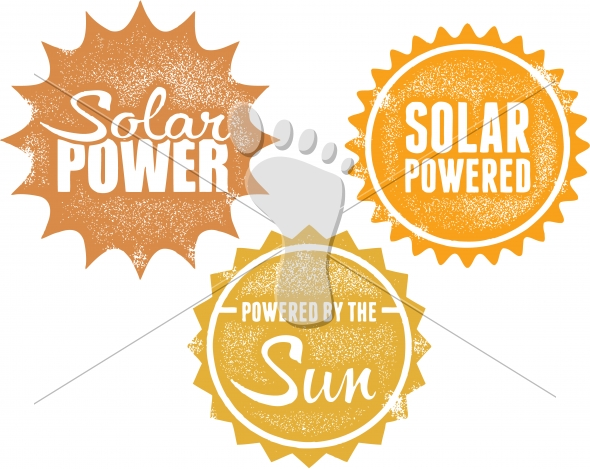 Solar Power Energy Vector Stamp Icons