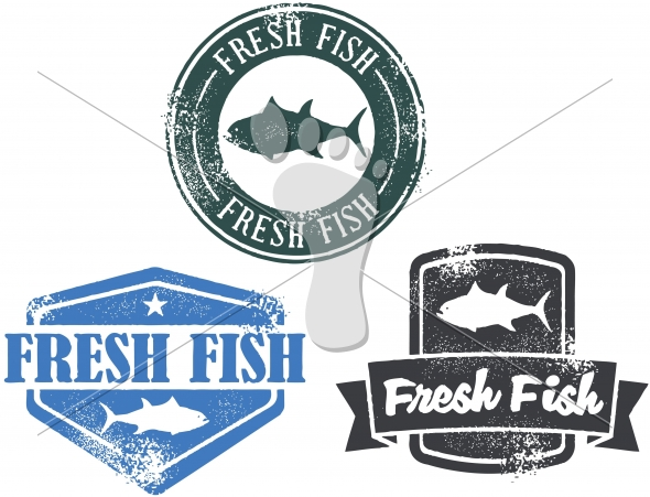 Vintage Style Fresh Fish Seafood Stamp