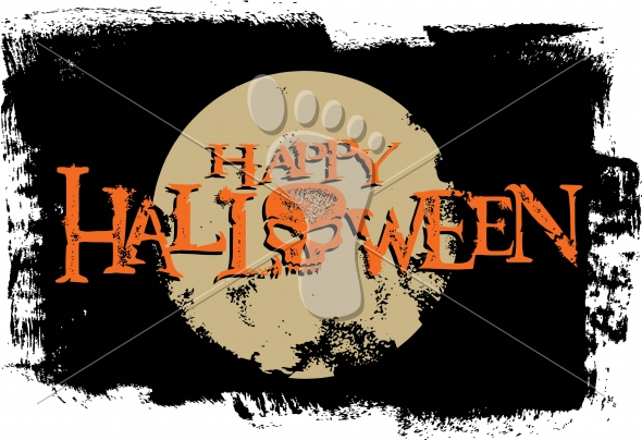 Happy Halloween Grunge Skull-Moon Vector Graphic