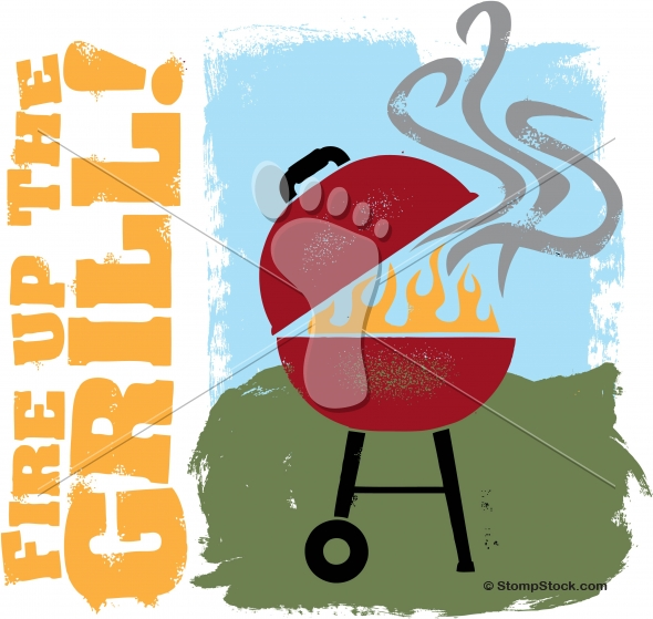 BBQ Grill Backyard Party Vector