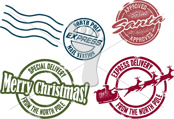 Vector Santa North Pole Postmarks