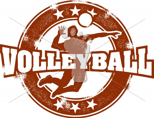 Vintage Volleyball Sport Vector