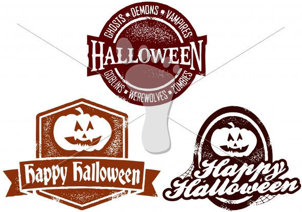 Happy Halloween Distressed Vector Stamps