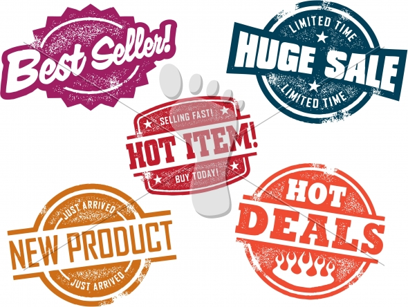 Vintage Retail Sale and Promotion Stamps