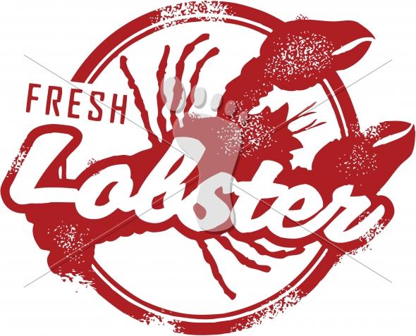 Fresh Lobster Vintage Style Menu Stamp