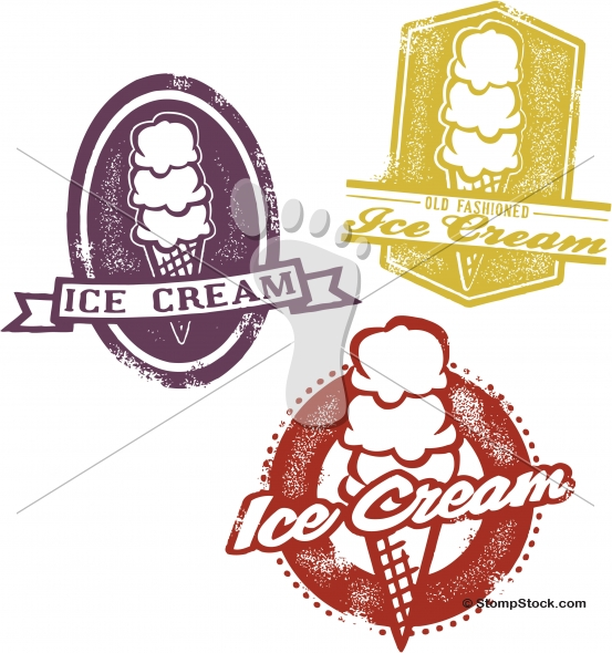 Vintage Style Ice Cream Sign Graphics