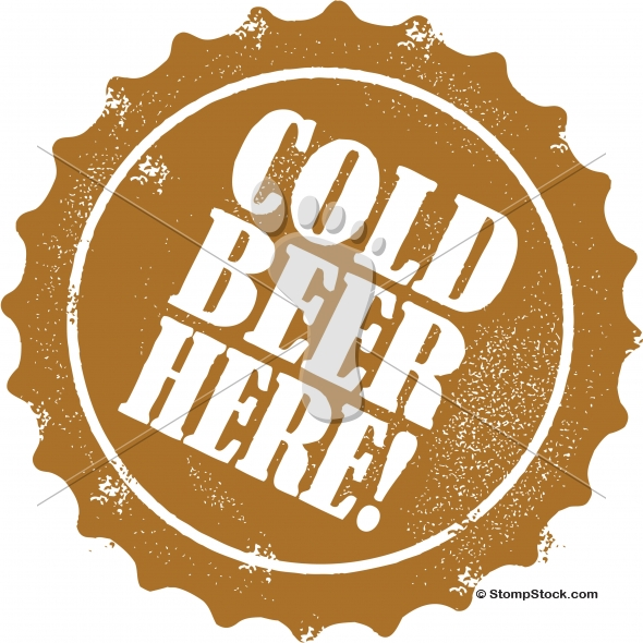 Cold Beer Here Vector Bottle Cap Stamp