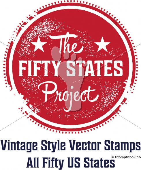 The 50 States Project – All 50 USA States Vintage Vector Stamps